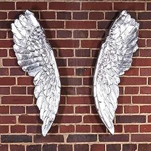 Design kunstobjekt wings 2er engelsfl gel als wandschmuck in antik silber k che - Wandschmuck silber ...