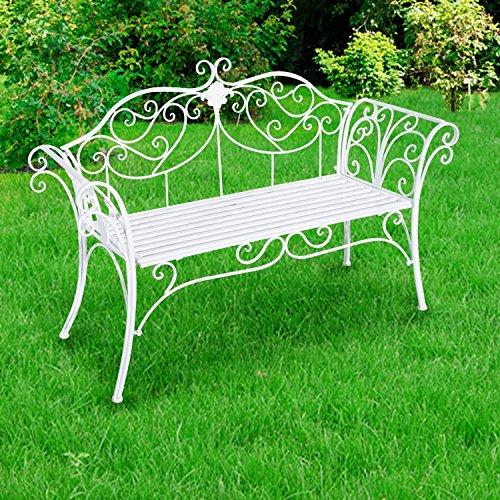 Outsunny Gartenbank, Metall, weiß, 134 x 51 x 89 cm, 840-053 - 3
