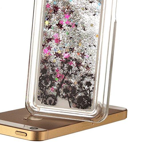 Beiuns Coque en Plastique Circuler liquide pour Apple iPhone5C Housse Case - WM512 arbre coloré WM504 pissenlit + rose étoiles
