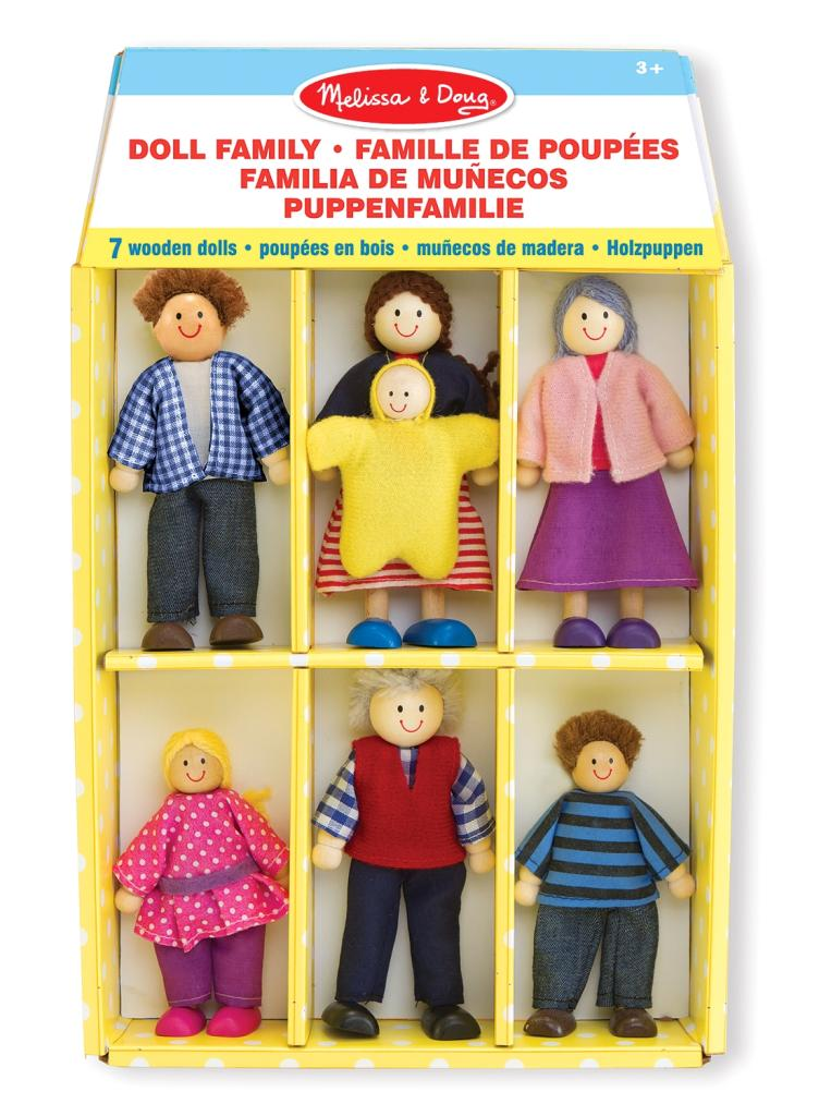 Melissa & Doug 7 Piece Poseable Wooden Doll Family for