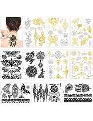 Tatouages temporaires pour femmes enfants, Konsait 10 grandes feuilles métalliques Tatouages éphémères Étanche Tattoo (or, argent, noir)