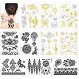 Tatuajes temporales para mujeres niños, Konsait 10 grandes hojas metálicas tatuajes temporales adhesivos impermeables, flores, rosas, bracklet, mariposas más (dorados, plata, negro)