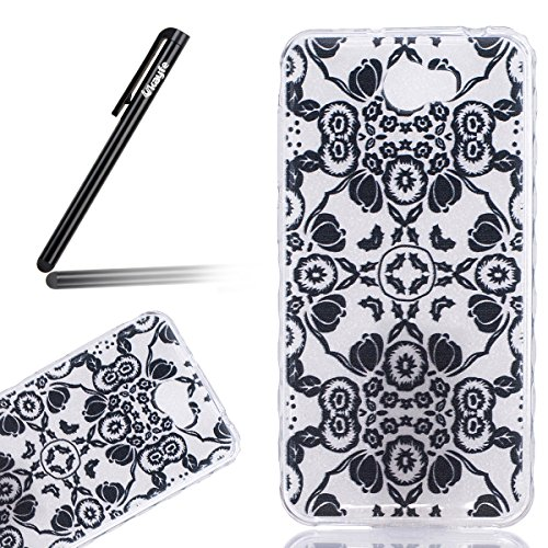 Ukayfe Custodia per Huawei Y5 II,Ultra Slim TPU Gel Gomma Silicone Copertura Case per Huawei Y5 II,Moda Serie Pattern Back Cover Crystal Skin Custodia Stilosa custodia di design Protettiva Shell Case  Fiori Neri