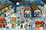 Posterlounge Acrylglasbild 180 x 120 cm: München Wimmelbild: Bahnhof von Annegret Reimann - Wandbild, Acryl Glasbild, Druck auf Acryl Glas Bild