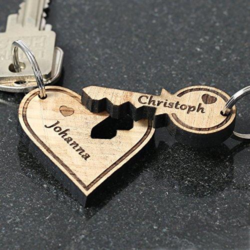 *Echtholz Liebes-Anhänger individuell graviert Schlüsselanhänger Wunschgravur, Form:Herz mit Schlüssel*