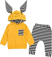 Infant Baby Boy Girl 3D Bunny Ear Striped Hooded T Shirt Tops+Pants Clothes Set