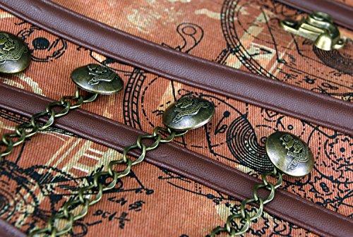 Charmian Women's Spiral Steel Boned Steampunk Gothic Bustier Corset with Chains Light Braun