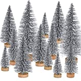Pangda 42 Pezzi Mini Albero di Natale Sisal Artificiali da Tavolo Sisal con Base in Legno per la Decorazione Natalizia, 4 Taglie (Argento)