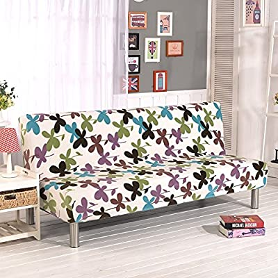 Sofa Cover, Folding Armless Sofa Cover Slipcover Washable Home Furniture Elastic Seater Protector Couch Futon Cover