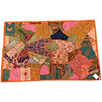 Mogul Interior Wall Hanging-Indian Traditional Sequin Embroidered Patchwork Home Decor Tapestry Size 60 X 40 Inches