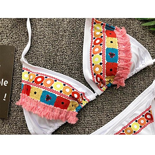 Kword Donne Sexy Bikini Floreale Set Push-Up Imbottito Costumi Da Bagno Costume Da Mare Balneazione Bikini Bianco