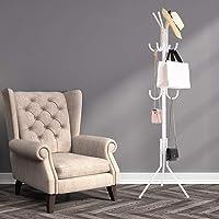 ADA Wrought Iron Coat Rack Hanger Creative Fashion Bedroom for Hanging Clothes Shelves, Wrought Iron Racks Standing Coat Rack (White)