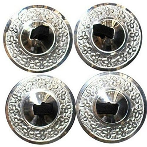Dancers World SILVER Professional Finger Cymbal Sagats Zill Set - 4 zills