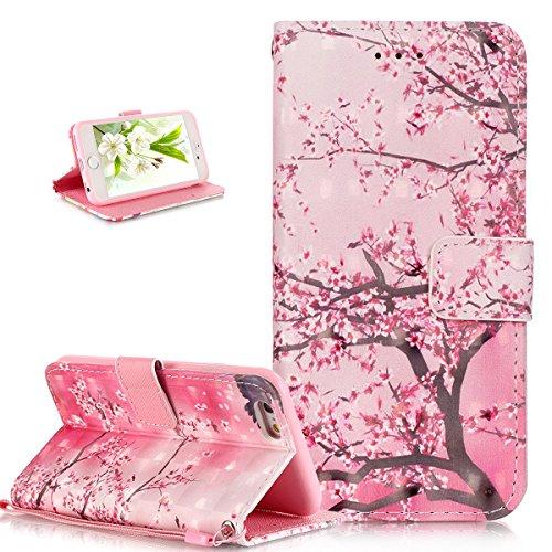 Coque iPhone 6S Plus,Coque iPhone 6 Plus,ikasus® Coque iPhone 6S Plus / 6 Plus Bookstyle Étui Housse en Cuir Case,Modèle de Peinture colorée peint fleurs papillon printemps série Etui Housse Cuir PU P Prune rose Blossom Fleur