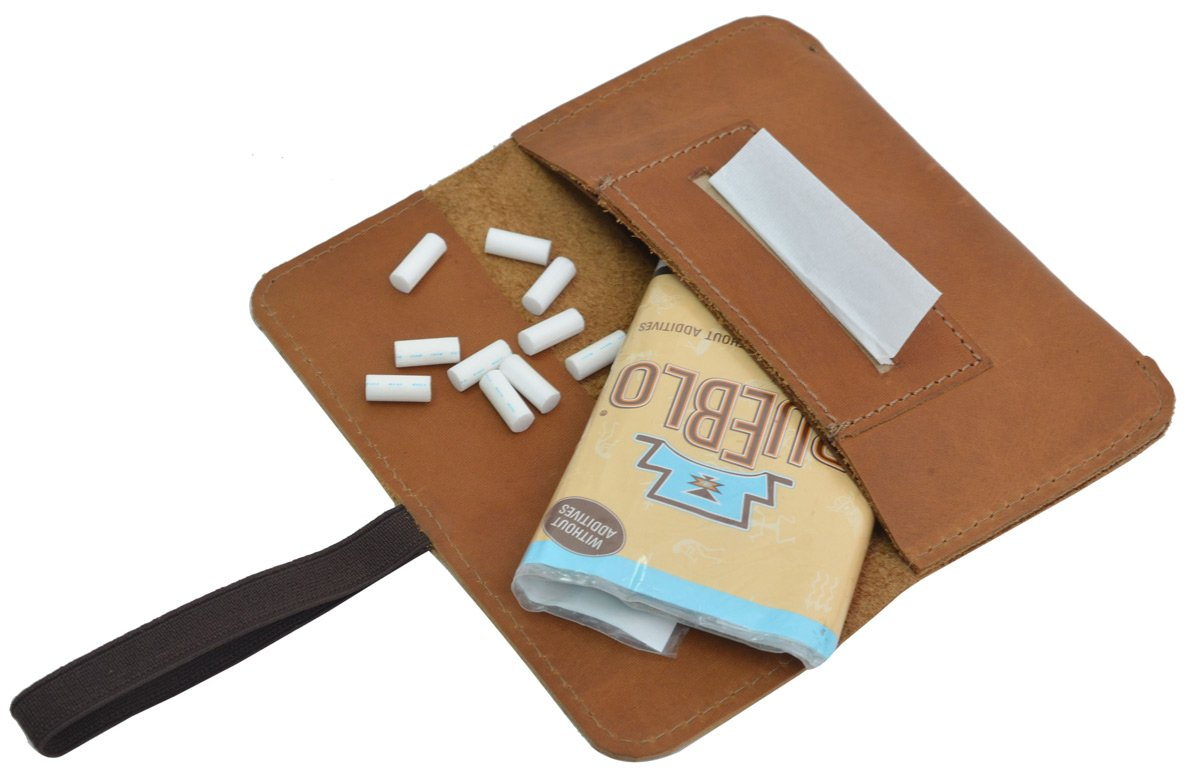 Gusti Cuero Studio Farro Bolsa para el Tabaco de Liar Marrón Claro 2T30-22-5