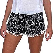 Mine Tom Niñas Mujeres Moda Verano Pantalones Cortos Polca Punto De Cintura Alta Shorts Con De Borlas Cordón
