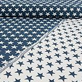 Gobelinstoff Sterne 2-seitig verwendbar jeansblau Canvasstoff Doubleface - Preis gilt für 0,5 Meter -