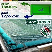 Telo di copertura invernale per piscina 12,50 x 25 mt con tubolari e fasce anti ribaltamento
