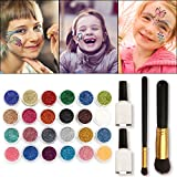 Skymore Tattoo-Kit, temporäre Glitzer Tattoo Make Up Körper Glitzer Körper Kunst Design für Kinder Teenager Erwachsene, mit 24 Farben der Glitzer, 108 Blatt Einzigartig Themed Tattoo Schablone