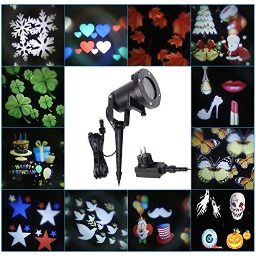 LED Proiettore Lampada Interno/ Esterno Impermeabile Prato Fata 12 Patterns Riflettore Paesaggio Illuminazione per Natale (Centro Telaio Di Montaggio)
