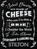 Vintage Style Cheese Metal Wall Plaque Sign - Brie, Cheddar, Stilton - Cheese Lover Gift