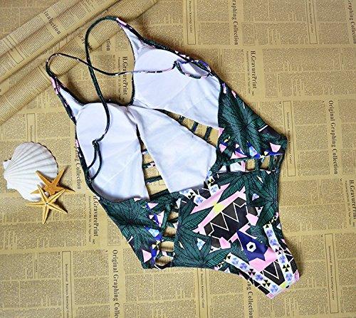 Maxquoia Damen Badeanzug Bandeau Bikini Set Bademode Bande Push-up Monokini Badebekleidung Beachwear Einteiler Grün