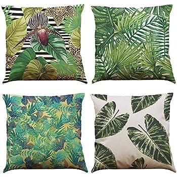 COFACE 6 Stück Grün Pflanze gedruckt Muster Kissenbezug