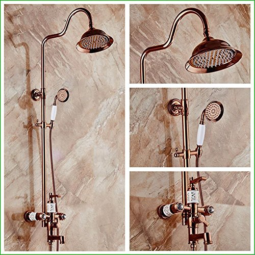 Bijjaladeva Wasserhahn Bad Wasserfall Mischbatterie WaschbeckenDas Bad Armatur Voll Kupfer Emaille Rose Gold Dusche in die Wand der dritte Gang Regen Top Spray+Handheld eingericht
