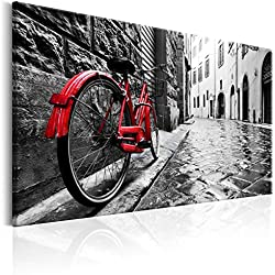 Cuadro en Lienzo 120x80 cm - 3 tres colores a elegir - 1 parte - Impresion en calidad fotografica - Cuadro en lienzo tejido-no tejido – Vintage Bicicleta d-B-0080-b-b 120x80 cm B&D XXL