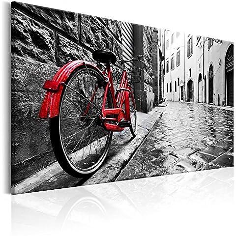 Cuadro en Lienzo 120x80 cm - 3 tres colores a elegir - 1 parte - Impresion en calidad fotografica - Cuadro en lienzo tejido-no tejido – Vintage Bicicleta d-B-0080-b-b 120x80 cm B&D