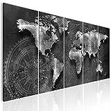 decomonkey Bilder Weltkarte 200x80 cm 5 Teilig Leinwandbilder Bild auf Leinwand Vlies Wandbild Kunstdruck Wanddeko Wand Wohnzimmer Wanddekoration Deko Welt Karte Kontinente Landkarte