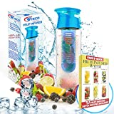 Bottiglia d'acqua infusore frutta, 800ml, a perfetta tenuta, ideale per lo yoga, escursioni e altri sport all'aria aperta - COMPRENDE Ebook con 17 ricette infuso di frutta per il download - Realizzato con Tritan copoliestere, con coperchio a cerniera e maniglia il trasporto da bere (Blu) materiali Wisco Supplies - Wisco Supplies - amazon.it