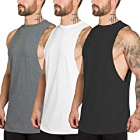XYKJFIT 3 Pack Men's Muscle Cut Off Gym Workout Stringer Tank Tops Bodybuilding Fitness T-Shirts