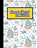 """French Ruled Notebook: Seyes Grid Paper, Seyes Ruled Paper, Cute Navy Cover, 8.5\"""" x 11\"""", 200 pages"""
