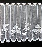Cortina de Media Altura delfín Altura 90 cm   Ancho de la Cortina cantidad comprada en Pasos de 22 cm   Color: Blanco   Cortinas Cocina