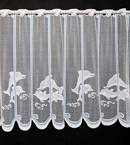 Scheibengardine Delfin 90 cm hoch   Breite der Gardine durch gekaufte Menge in 22 cm Schritten wählbar (Anfertigung nach Maß)   weiß   Vorhang Küche Wohnzimmer -