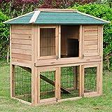 WOLTU® Hasenstall Kaninchenstall Kleintier Kaninchenkäfig Hasenkäfig Holz Stall 124*67*121cm(L*B*H) HT2069