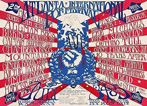 Vintage ATLANTA POP FESTIVAL 1970 Jethro Tull, Allman Brothers, BB King, Chambers Brothers, Ginger Baker, Richie Havens, Jimi Hendrix, Captain Beefheart, 10 years After, John B. Sebastian etc * 250gsm Gloss ART CARD A3 Reproduction Poster