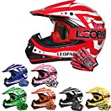 Leopard LEO-X17 Kinder Kinder Motocross Dirt Bike Off Road Crash Helm & Handschuhe & Schutzbrillen Rot XL (55cm)
