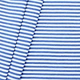 Baumwollstoff Bündchenstoff Ringel glatt Royal-Blau Weiss