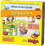 HABA 302781 - Meine ersten Spiele – Einkaufen | Lern- und Würfelspiel für 1-4 Spieler ab 2 Jahren | Mit liebevoll gestaltetem 3-D-Marktstand | Spielmaterial auch zum freien Spielen und für fantasievolle Rollenspiele geeignet