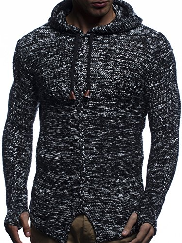 LEIF NELSON Herren Hoodie Pullover Kapuzenpullover Strickpullover mit Kapuze Sweatjacke Zipper Sweatshirt LN20726; Grš§e M, Schwarz