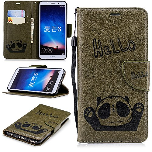 Huawei Mate 10 Lite Wallet Case,Fancart Stylish Slim PU Leather Protector Stand and Card Holders Wallet Phone Cover Design Protective Case for Huawei Mate 10 Lite -Army-Green (Custom Switch Light)