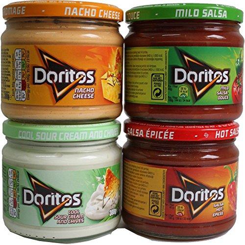 Doritos Nacho Chips Dip Sauce Testpaket, Nacho Cheese 300g (Käse Dip), Mild Salsa 326g, Hot Salsa 326g & Cool Sour Cream and Chives 300g