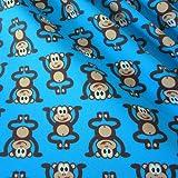Stoff Baumwolle Meterware blau Affe braun Jersey weich warm Meterpreis