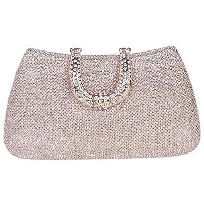 Bonjanvye Initials Glitter Purses For Women Hard Case Evening Clutch Bag