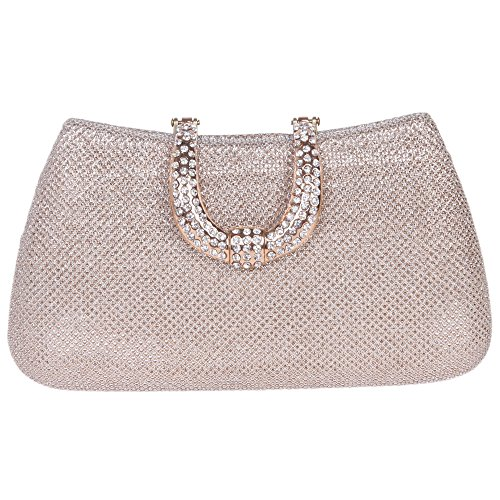Bonjanvye Glitter Initials Hand Purses for Women Evening Clutch Bag Black Champagne