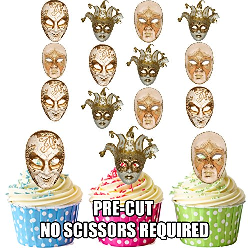 Masquerade Ball Masken, Jester Full Face Mix - essbar Stand-up Cupcake Topper (Pack von 12)