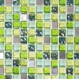 Mosaik Fliese Transluzent Edelstahl grün Glasmosaik Crystal Stahl grün für WAND BAD WC DUSCHE KÜCHE FLIESENSPIEGEL THEKENVERKLEIDUNG BADEWANNENVERKLEIDUNG Mosaikmatte Mosaikplatte