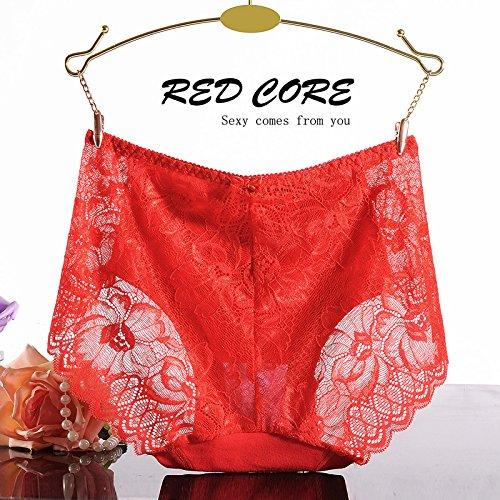 RRRRZ* Weiche Spitze in der Taille Hosen, sexy Unterwäsche Ecke 3 Weibliche lichtdurchlässige optische Versuchung Temperament und Unterwäsche, M, rot
